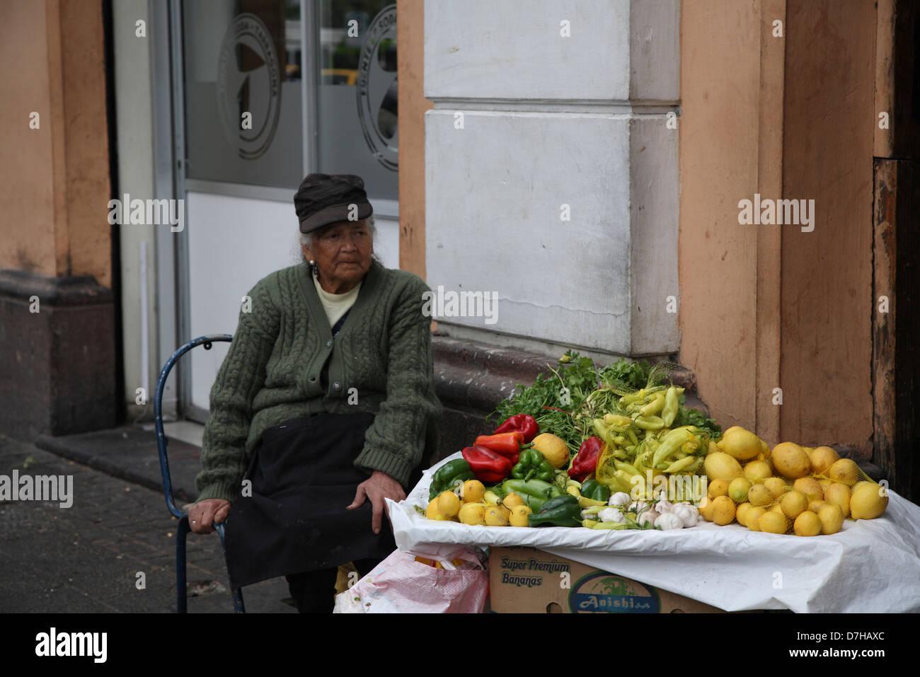 Santiago de Chile street trader Old Woman - Stock Image