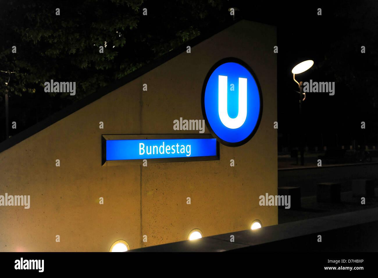Underground station Bundestag in Berlin - Stock Image
