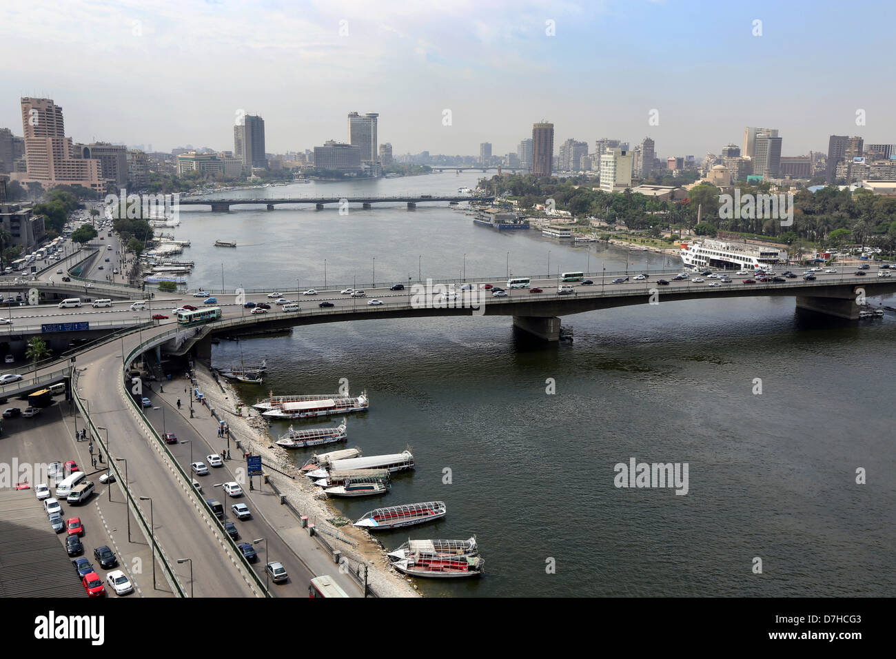 Aerial View Of Downtown Cairo And Nile 6th October Bridge