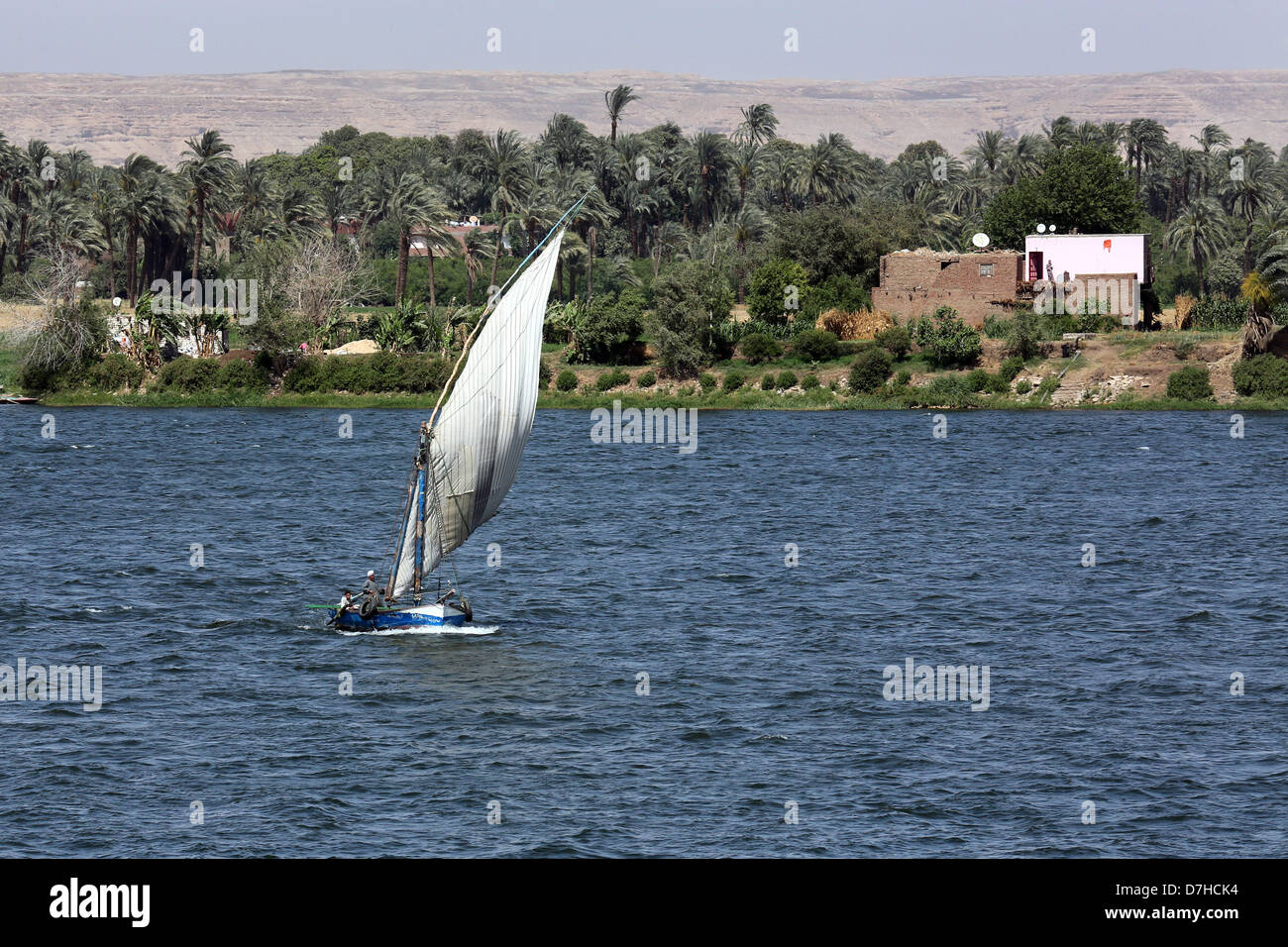 Felucca sailing boat on river Nile near Assiut, Upper Egypt - Stock Image