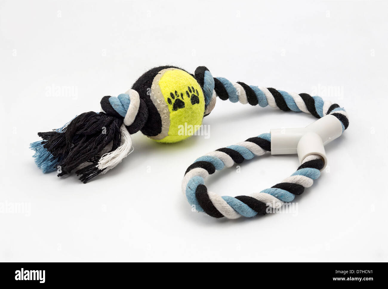 Ball and rope pulling toy for a dog - Stock Image