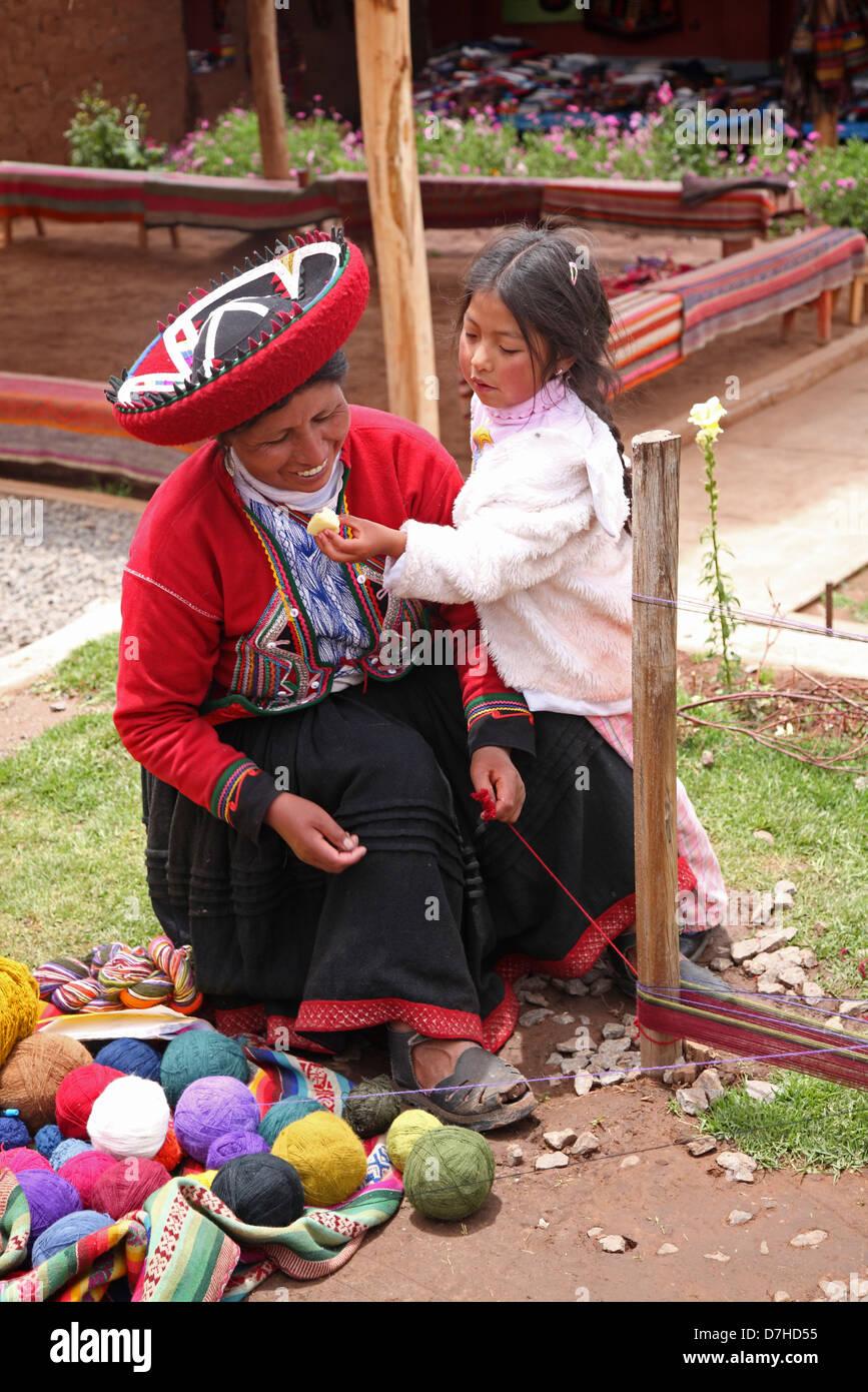 Chinchero near Cusco traditional costume Inca - Stock Image
