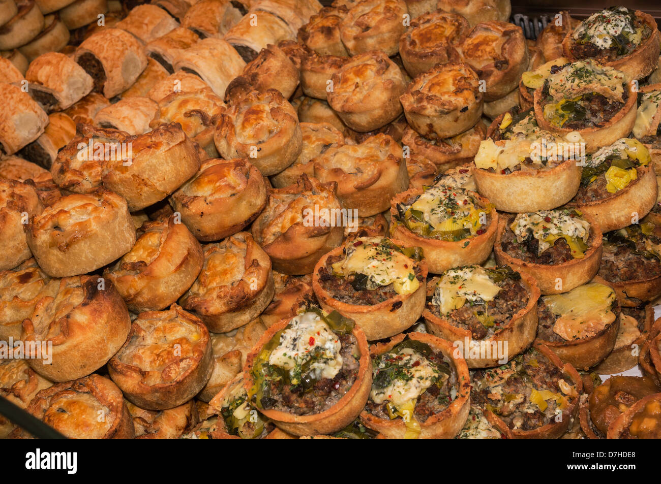 Pies on sale at the Festival of Food and drink, Leyburn - Stock Image