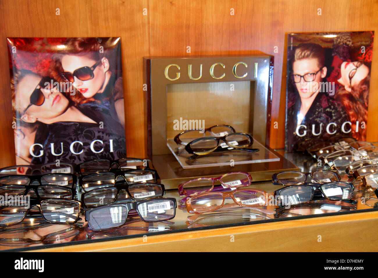 0f14374e3d Miami Beach Florida optometrist s office sunglasses eyeglasses fashionable  frames choices retail display for sale Gucci designer