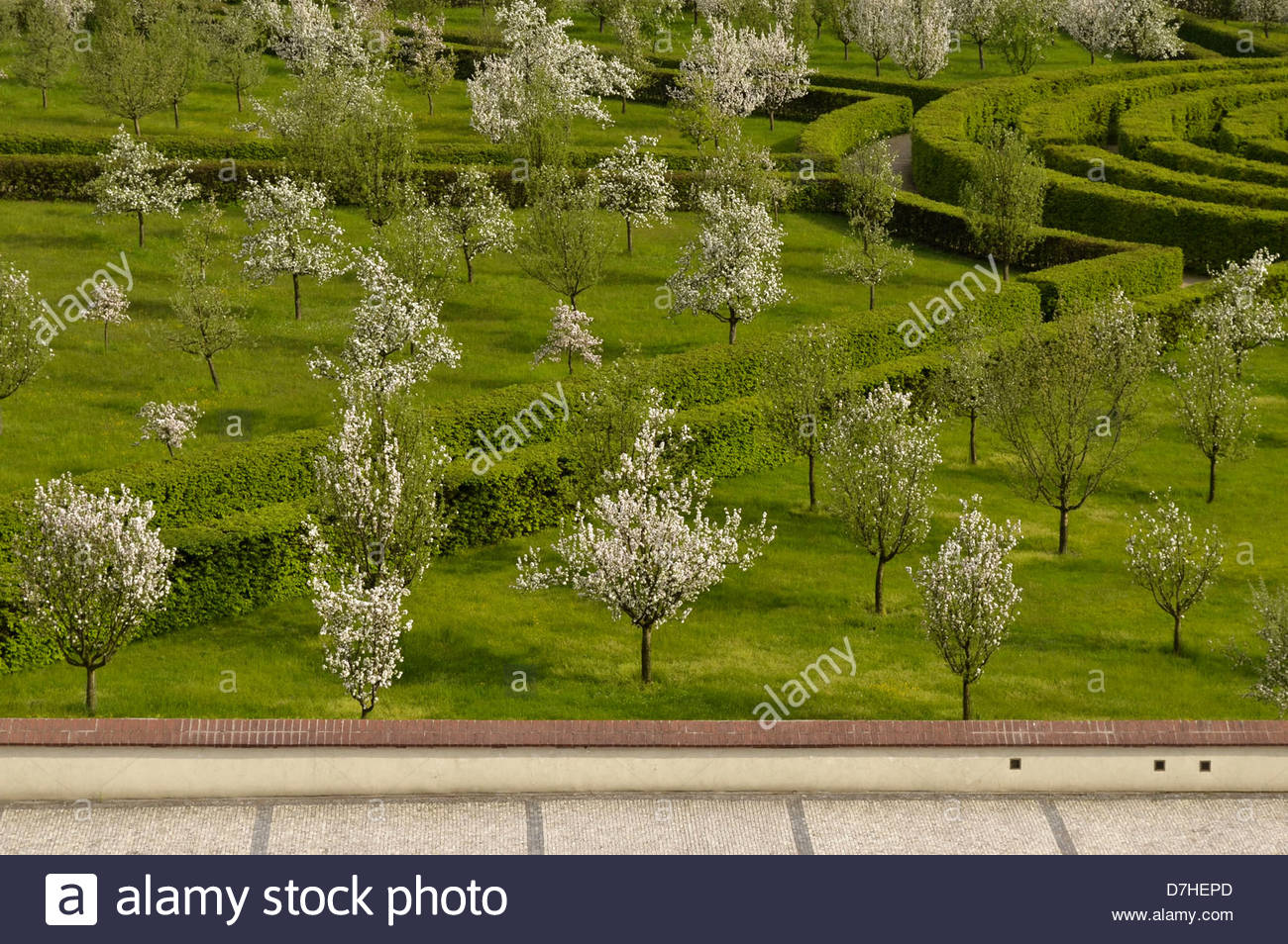 Spring garden with blooming trees in Prague Czech Republic Stock Photo