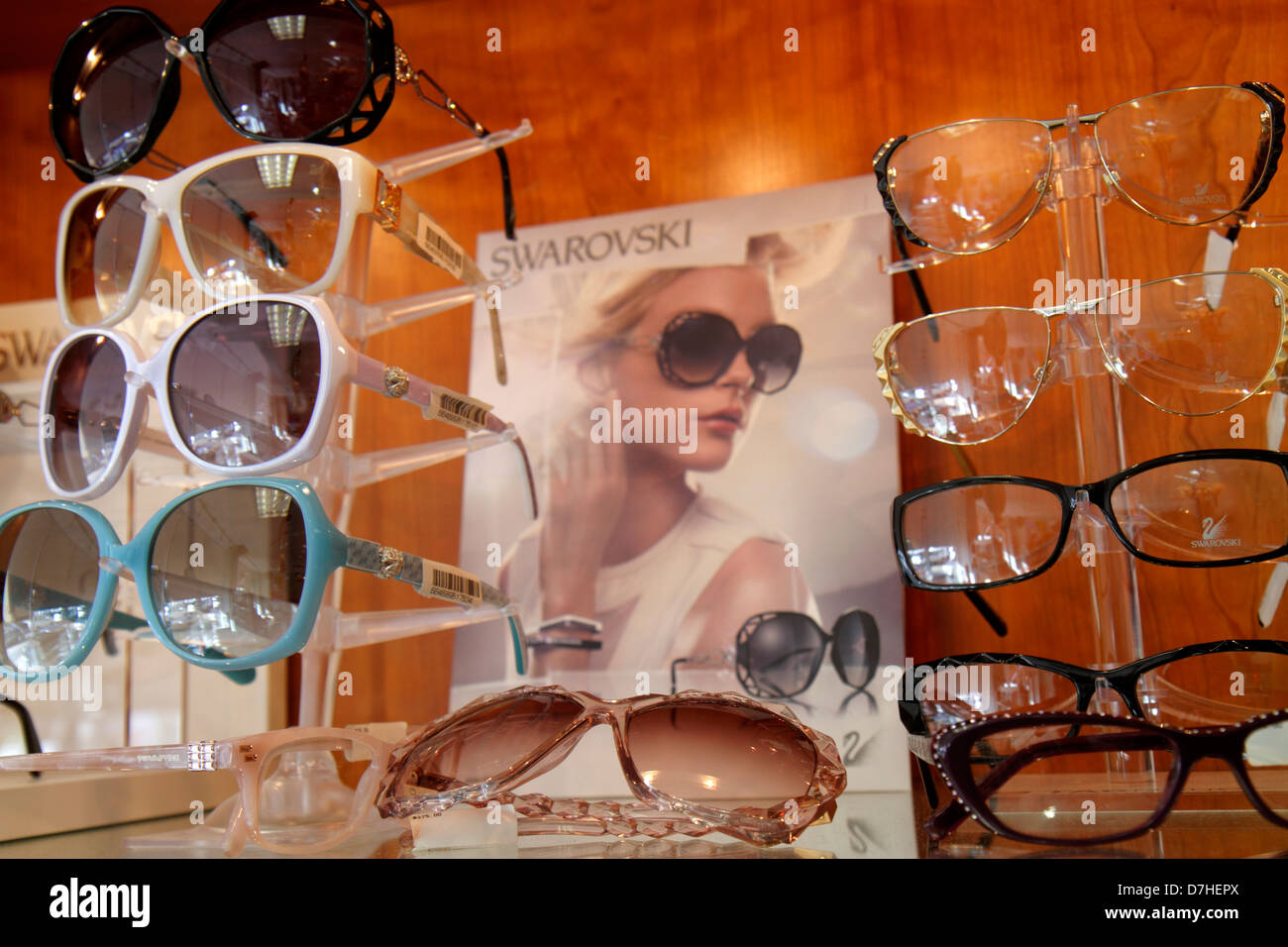 7b93654ad8a Miami Beach Florida optometrist s office sunglasses eyeglasses fashionable  frames choices retail display for - Stock Image