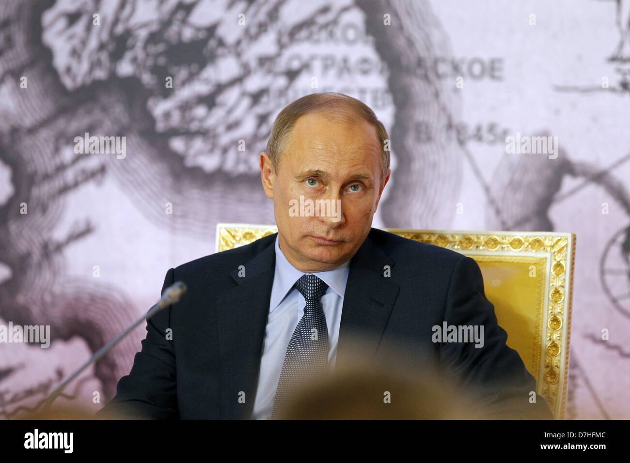 April 30, 2013 - St. Petersburg, Russia - April 30,2013. Pictured: President Vladimir Putin at the Russian Geographical Stock Photo
