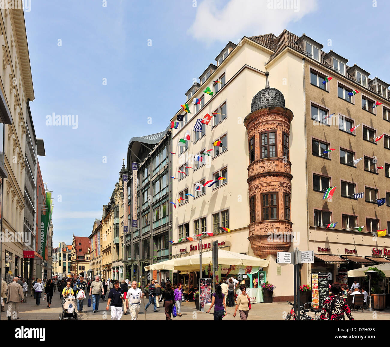 The pedestrian zone in Leipzig - Stock Image