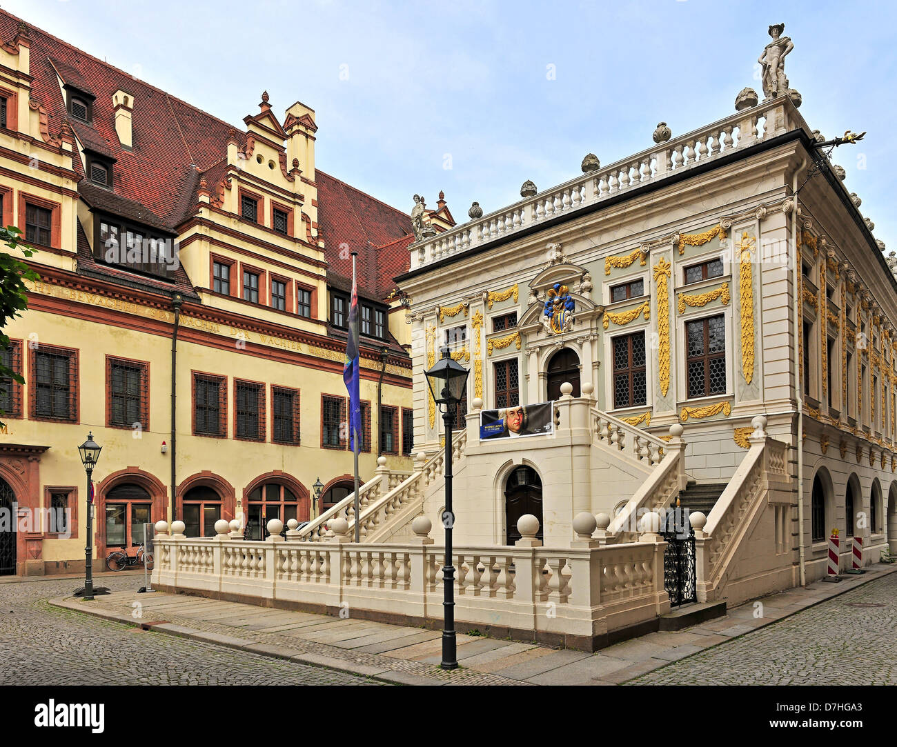 The old trading stock market at the Naschmarkt on the back of the city hall in Leipzig - Stock Image