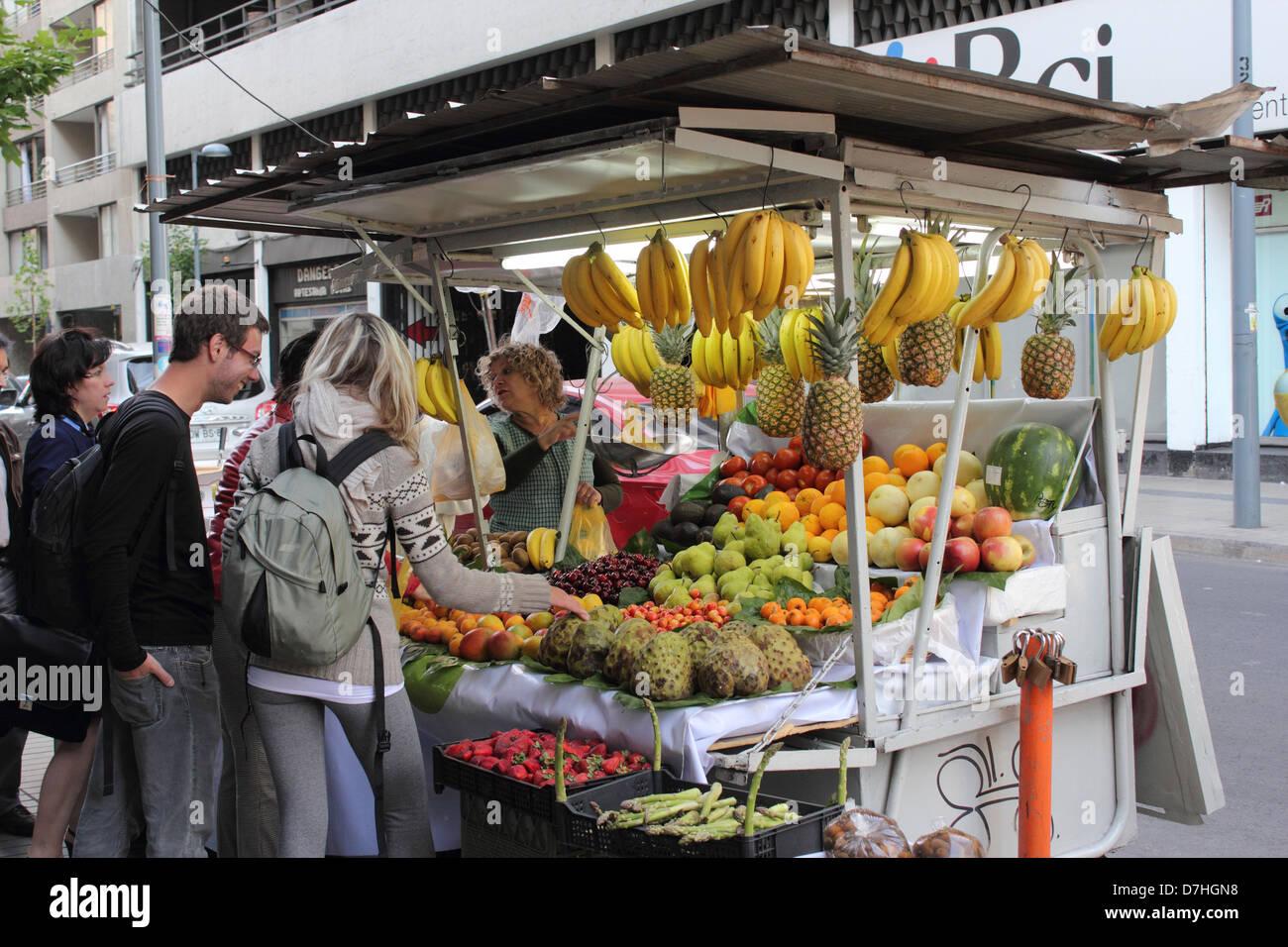 Santiago de Chile  street trader fruit - Stock Image