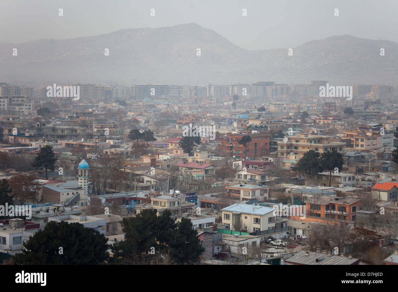 view on the city of Kabul, Afghanistan. - Stock Image