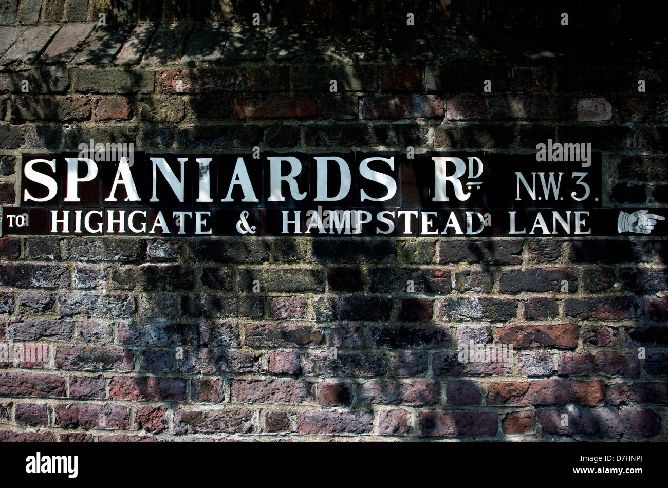 Street sign for Spaniards Road in Hampstead, London - Stock Image