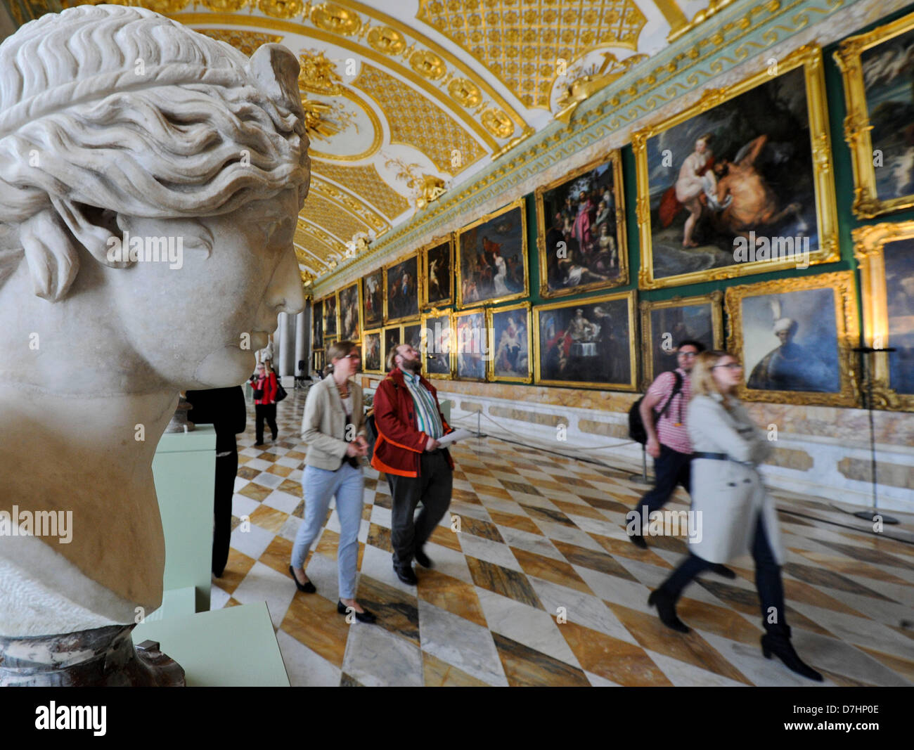 The sculpture 'A muse' is part of the exhibition 'The most beautiful gallery' in the picture gallery - Stock Image