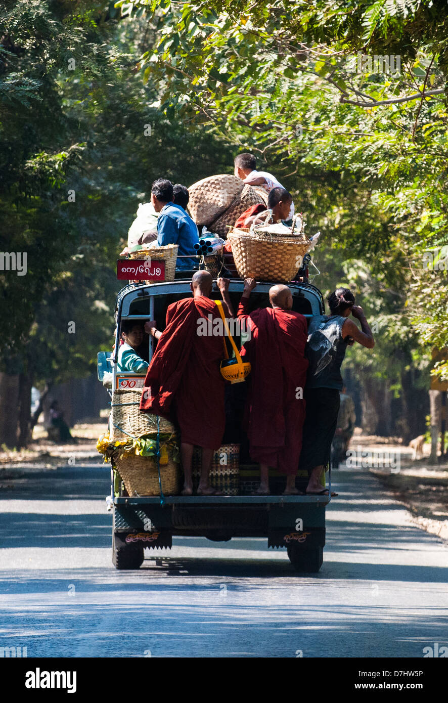 Overcrowded pickup truck – most popular form of transport around the country, Burma (Myanmar) Stock Photo