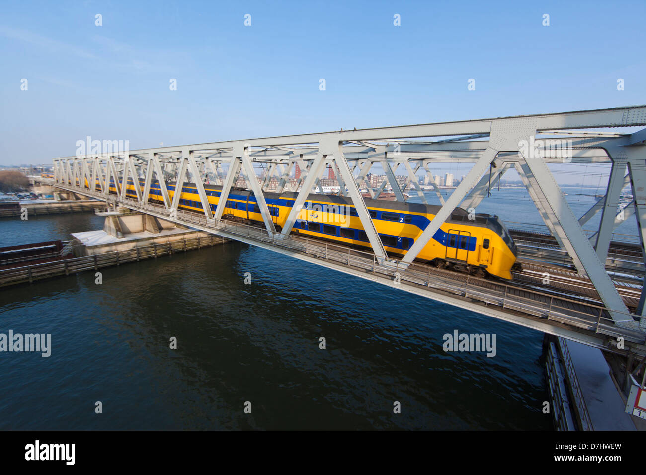 (train) Bridge over the river 'Maas' in dordrecht. - Stock Image