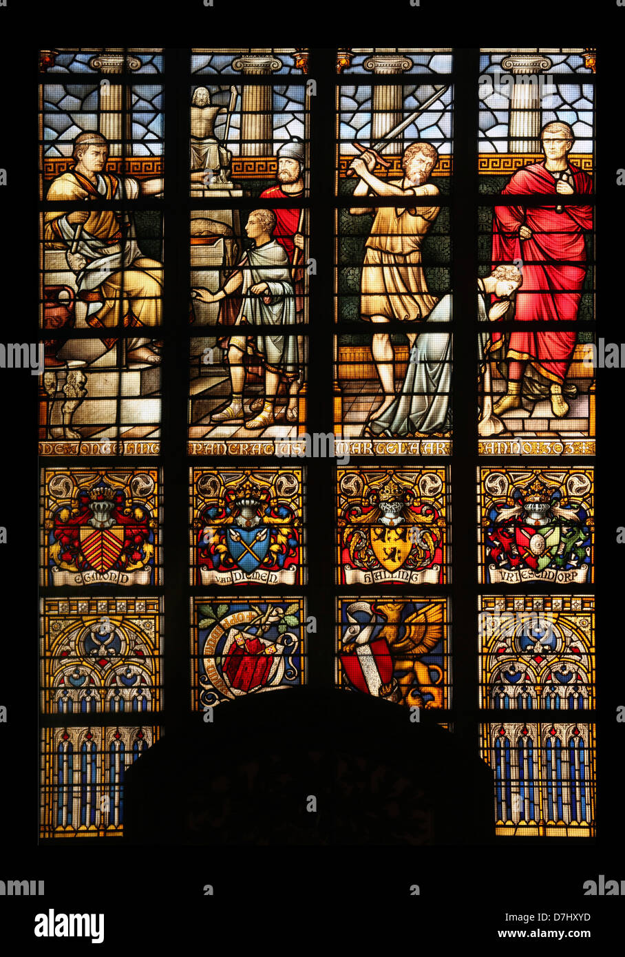 big glass windows floor to ceiling stained glass windows in the big church dordrecht stock photo