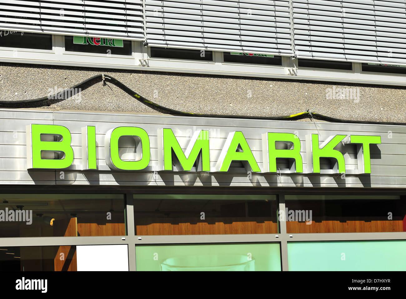 Companies, company signs, names, logo, Biomarkt - Stock Image