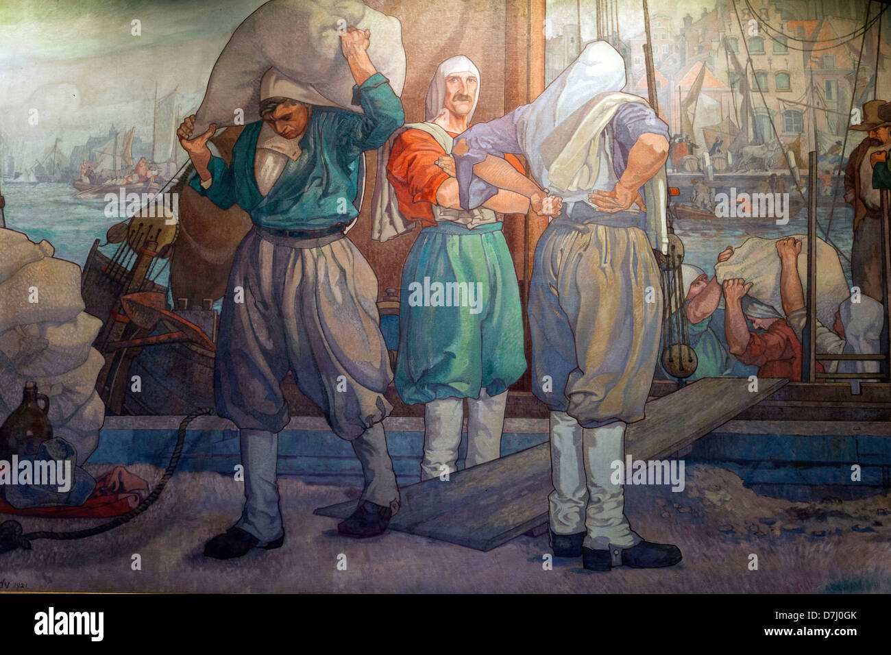 wall paining of reinier kenney in twonhall building, dordrecht, holland - Stock Image