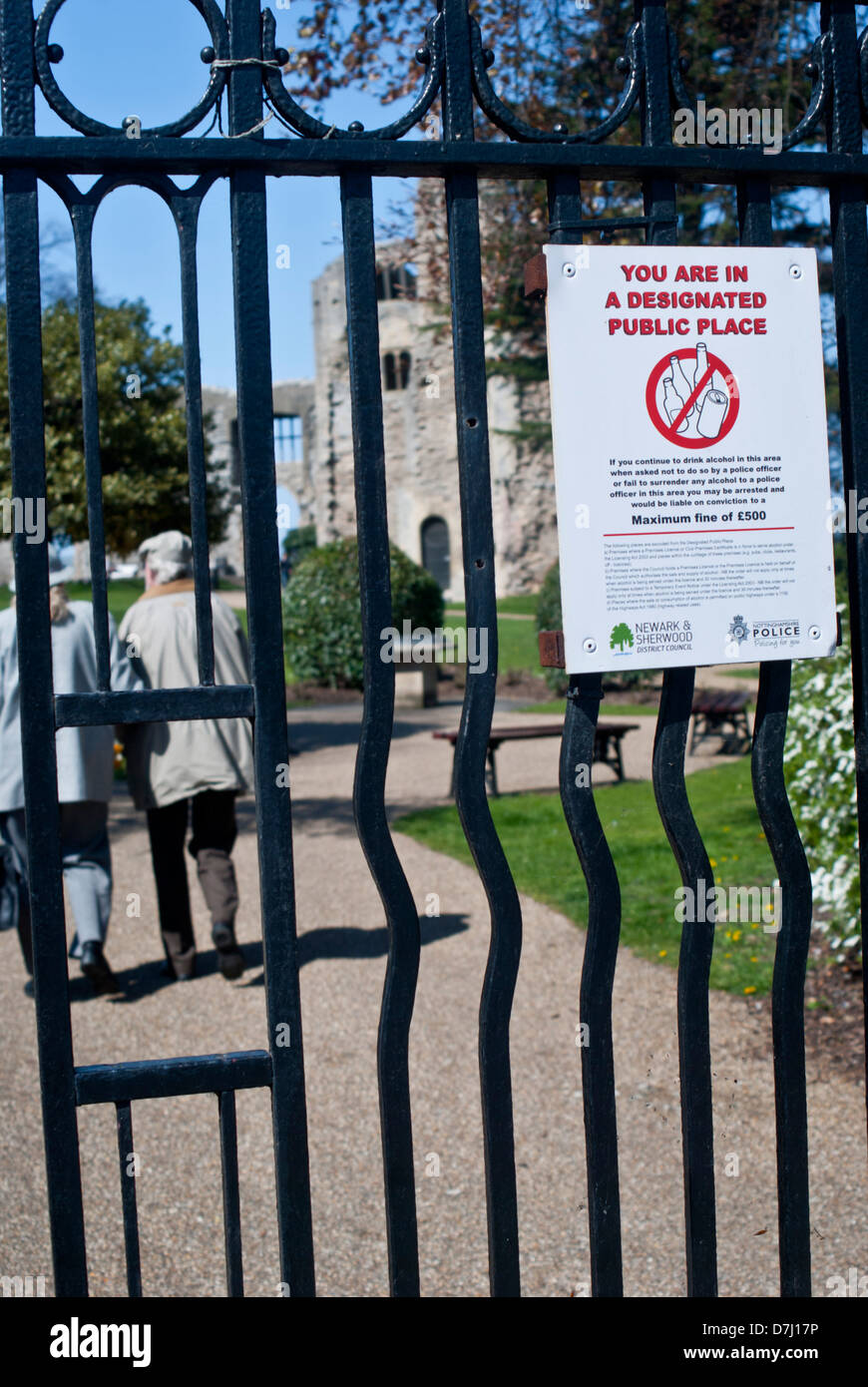 Gated entrance to Newark Castle, with a sign for a 'Designated Public Space', Newark on Trent, Nottinghamshire, - Stock Image