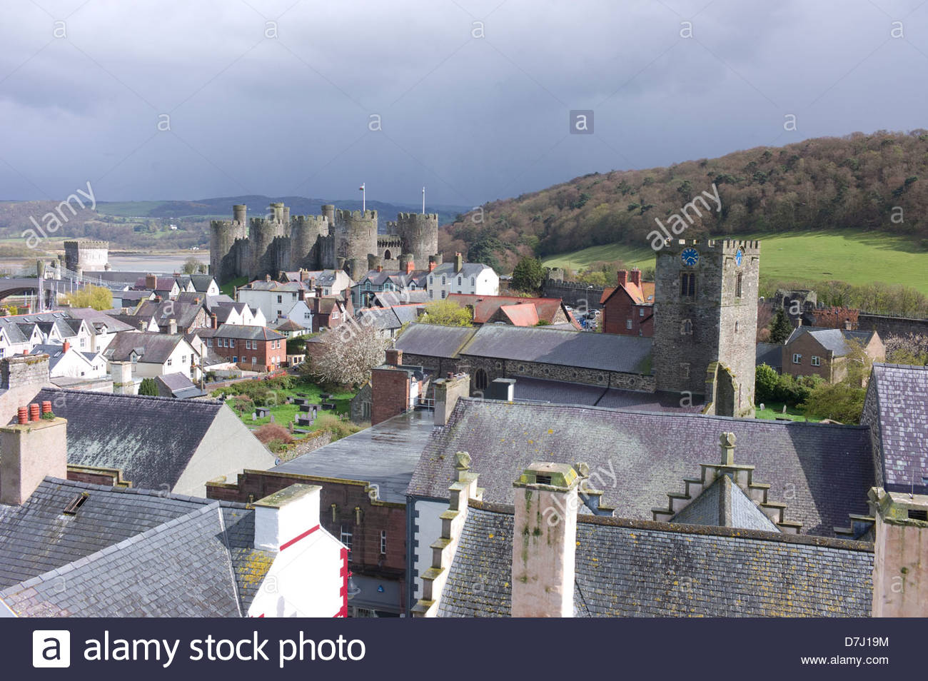Conwy town and castle Stock Photo