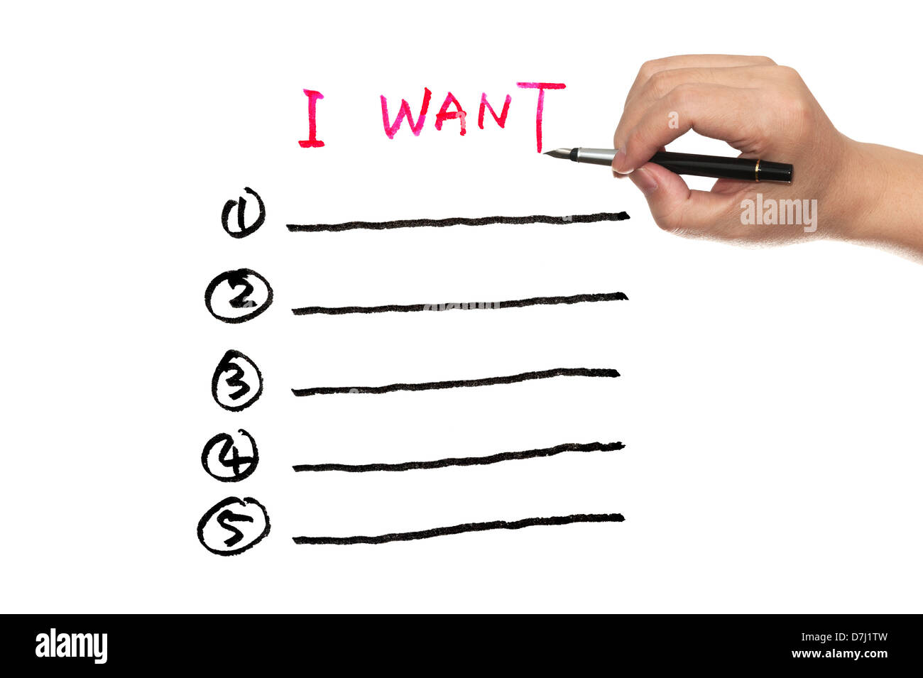 I want, wish list written on white paper - Stock Image