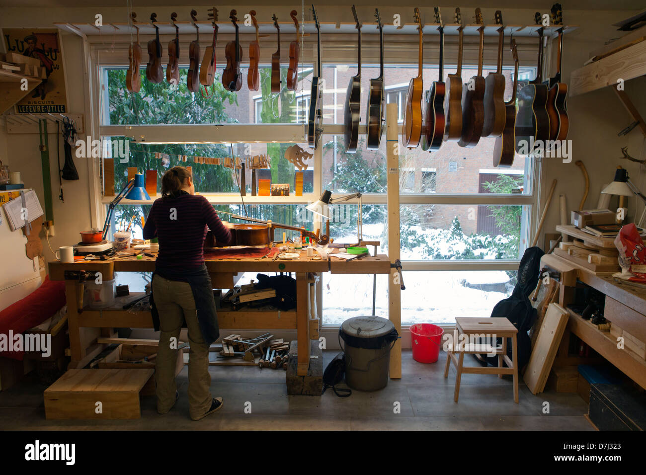 music instrument repair shop in holland stock photo 56331243 alamy. Black Bedroom Furniture Sets. Home Design Ideas
