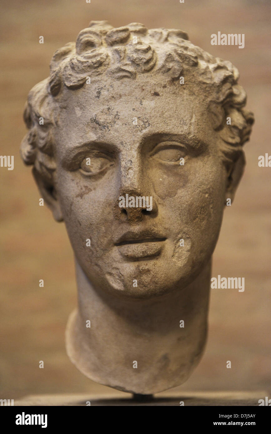 Head of Ares, god of war. Roman sculpture after an original of 330 BC. Glyptothek. Munich. Germany. - Stock Image