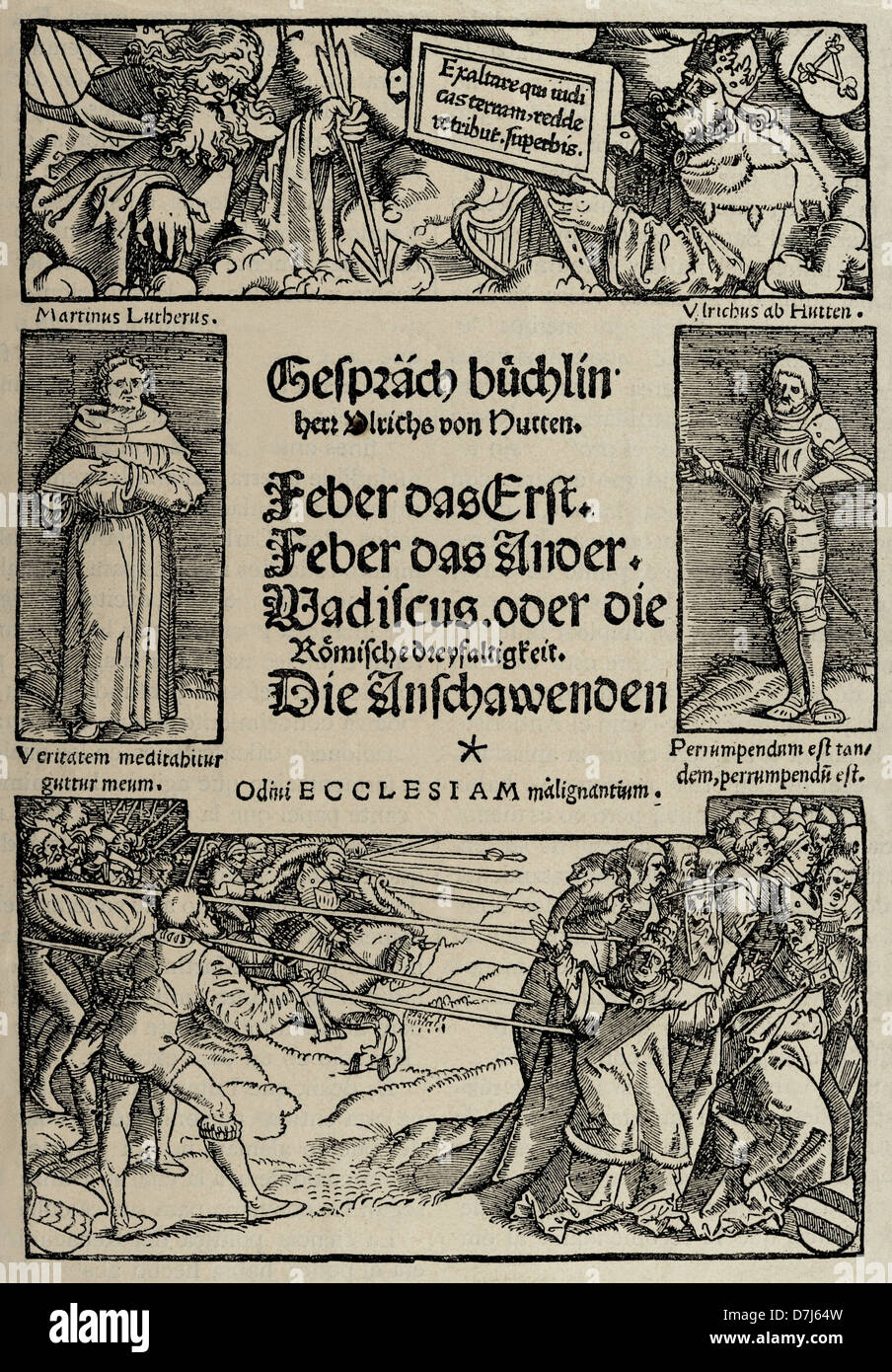 Ulrich von Hutten (1488-1523). German writer and theologian. Facsimile of the cover of the Booklet of Conversations. - Stock Image