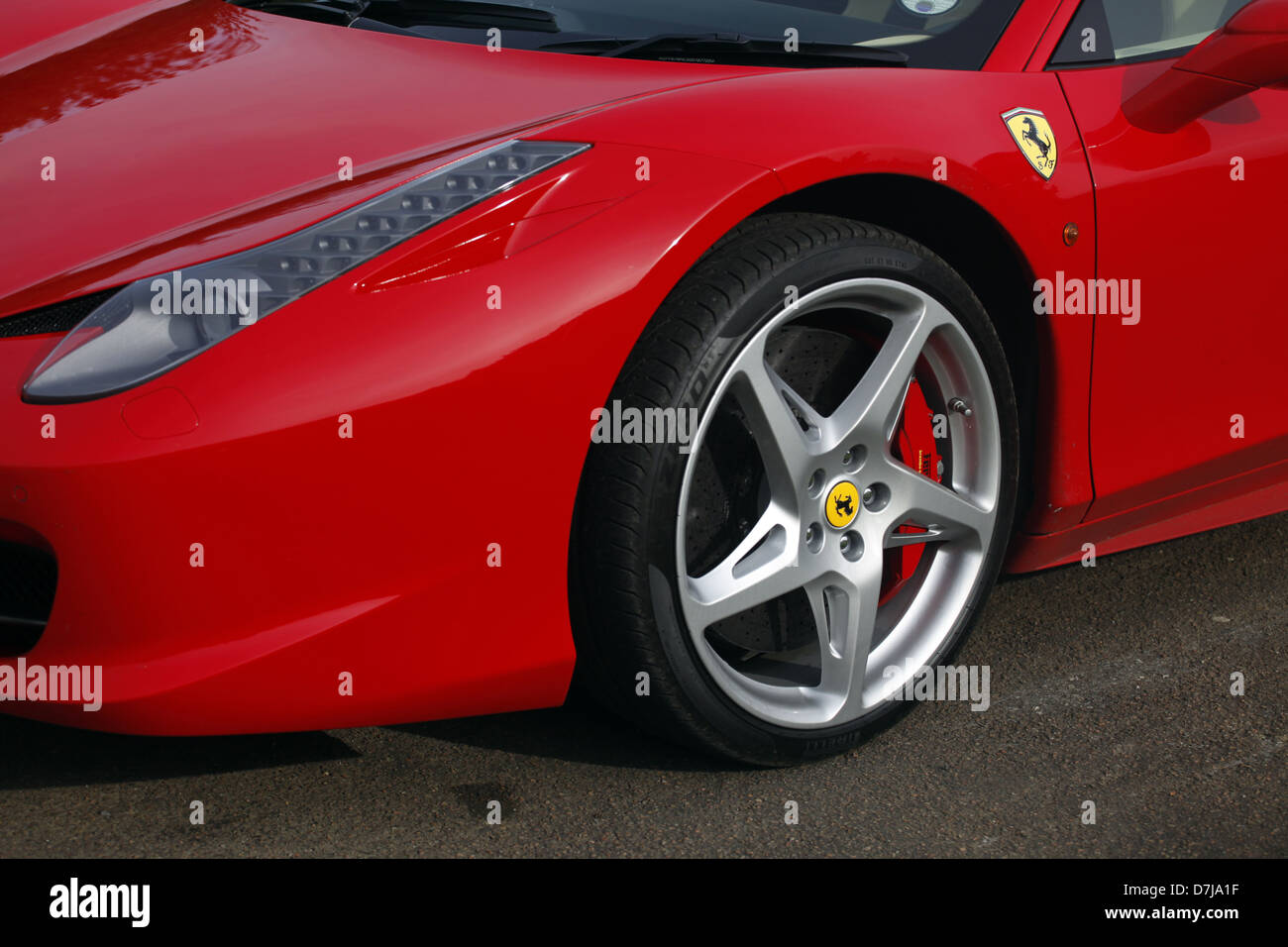 Red Ferrari 458 Italia Car Wheels North Yorkshire England 21 July Stock Photo Alamy