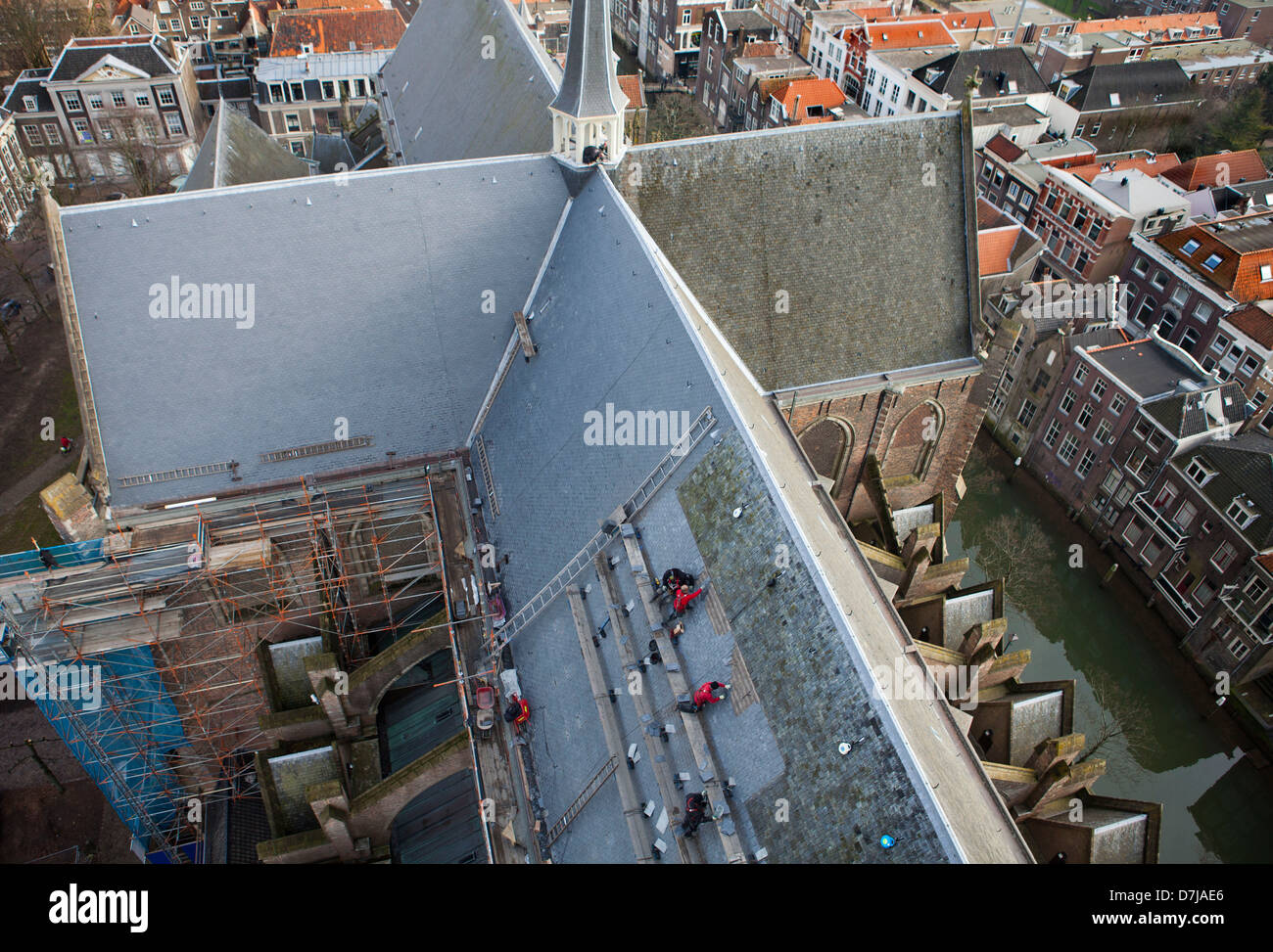 renovation of the roof of the 'grote kerk' in Dordrecht, Holland - Stock Image