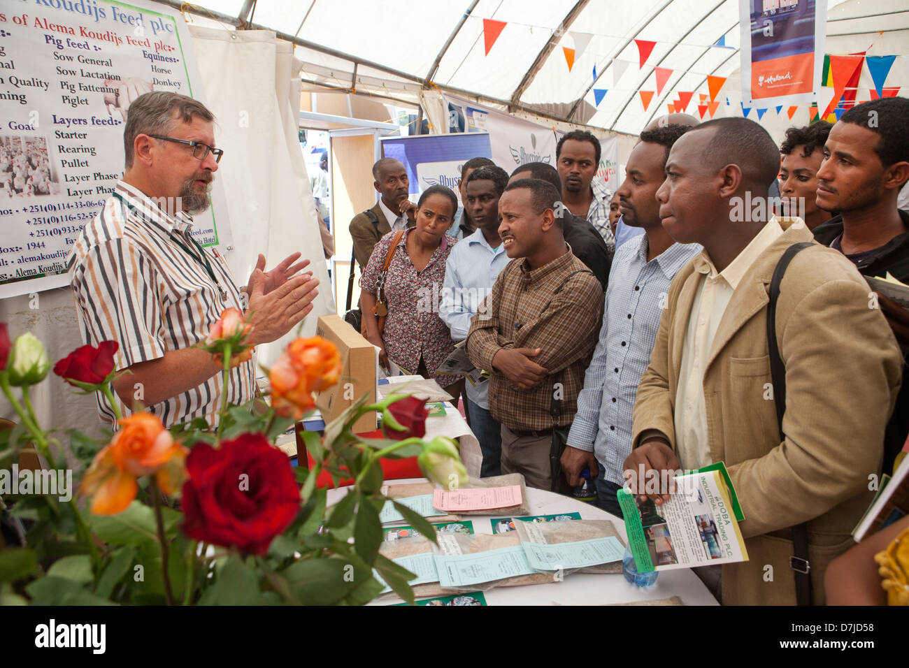 Jan Couzine is a dutch entrerpreneur ethiopia. Through his company AKF he trades in agriculture seeds . he talks - Stock Image