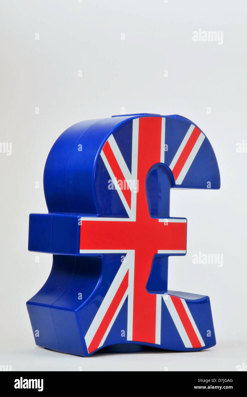Pound Symbol Shaped Money Box With Union Jack Flag Printed On The