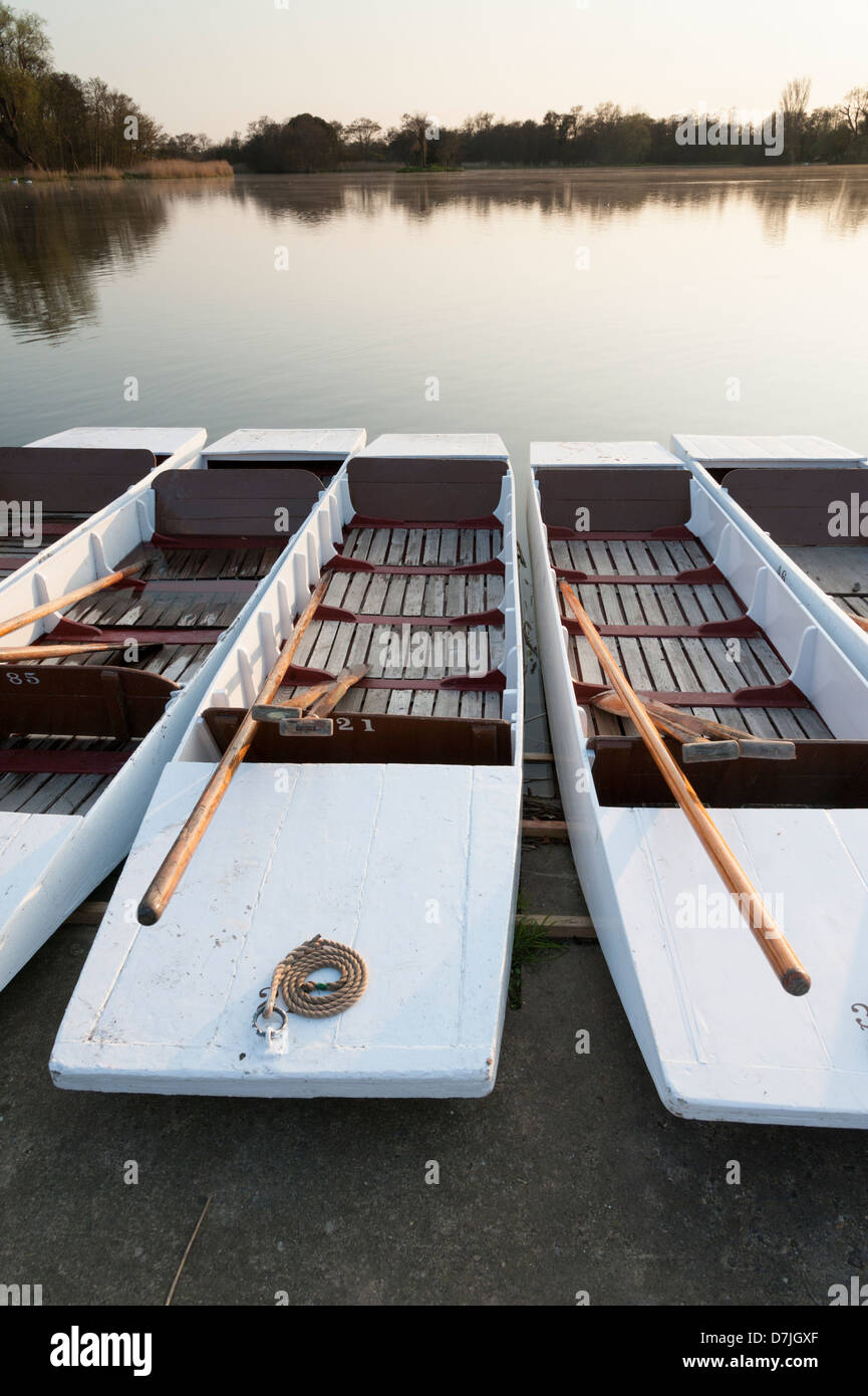 Punts moored at The Meare Thorpeness near Aldeburgh Suffolk UK - Stock Image