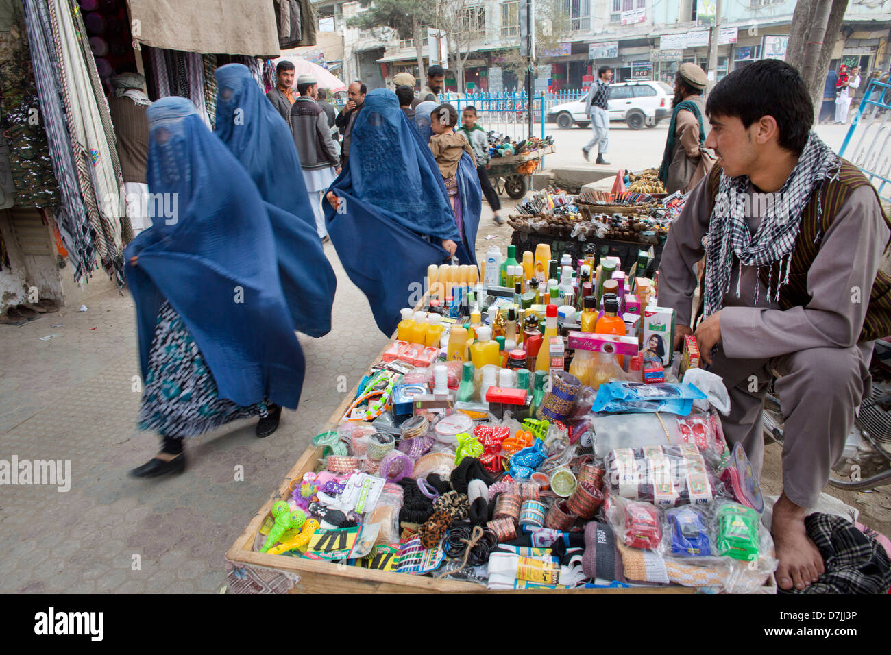Market in downtown Kunduz, Afghanistan - Stock Image