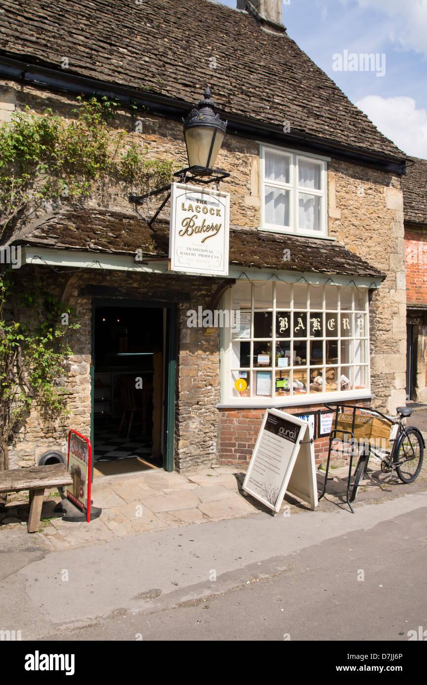 Lacock village Bakery shop, in Wiltshire England UK Stock Photo