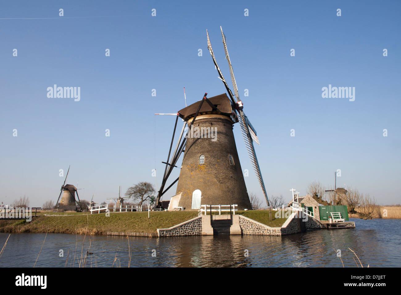 19 mills at the 'kinderdijk' near Rotterdam - Stock Image