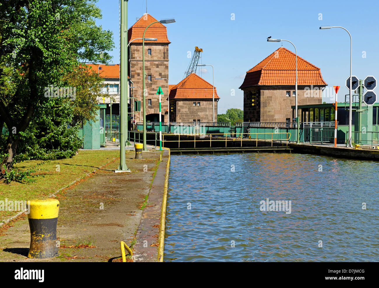 The sluice in Minden on the Weser, North Rhine-Westphalia, Germany - Stock Image