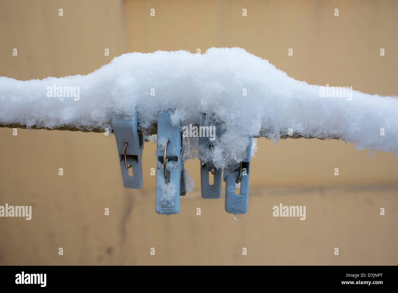 clothes pins in winter - Stock Image