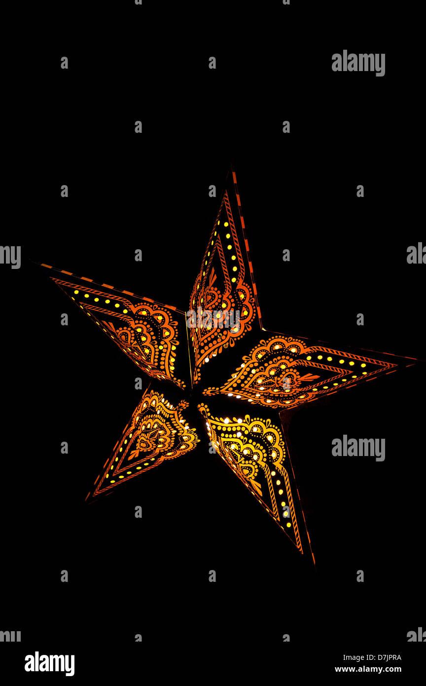 Luminous poinsettia , Leuchtender Weihnachtsstern - Stock Image