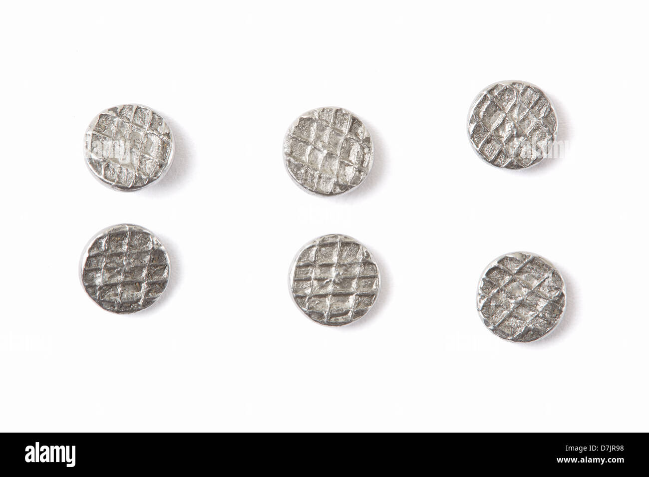 Metal nail heads collection - Stock Image