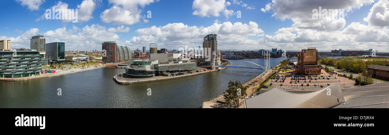 Wide panormic shot of Salford Quays - Stock Image