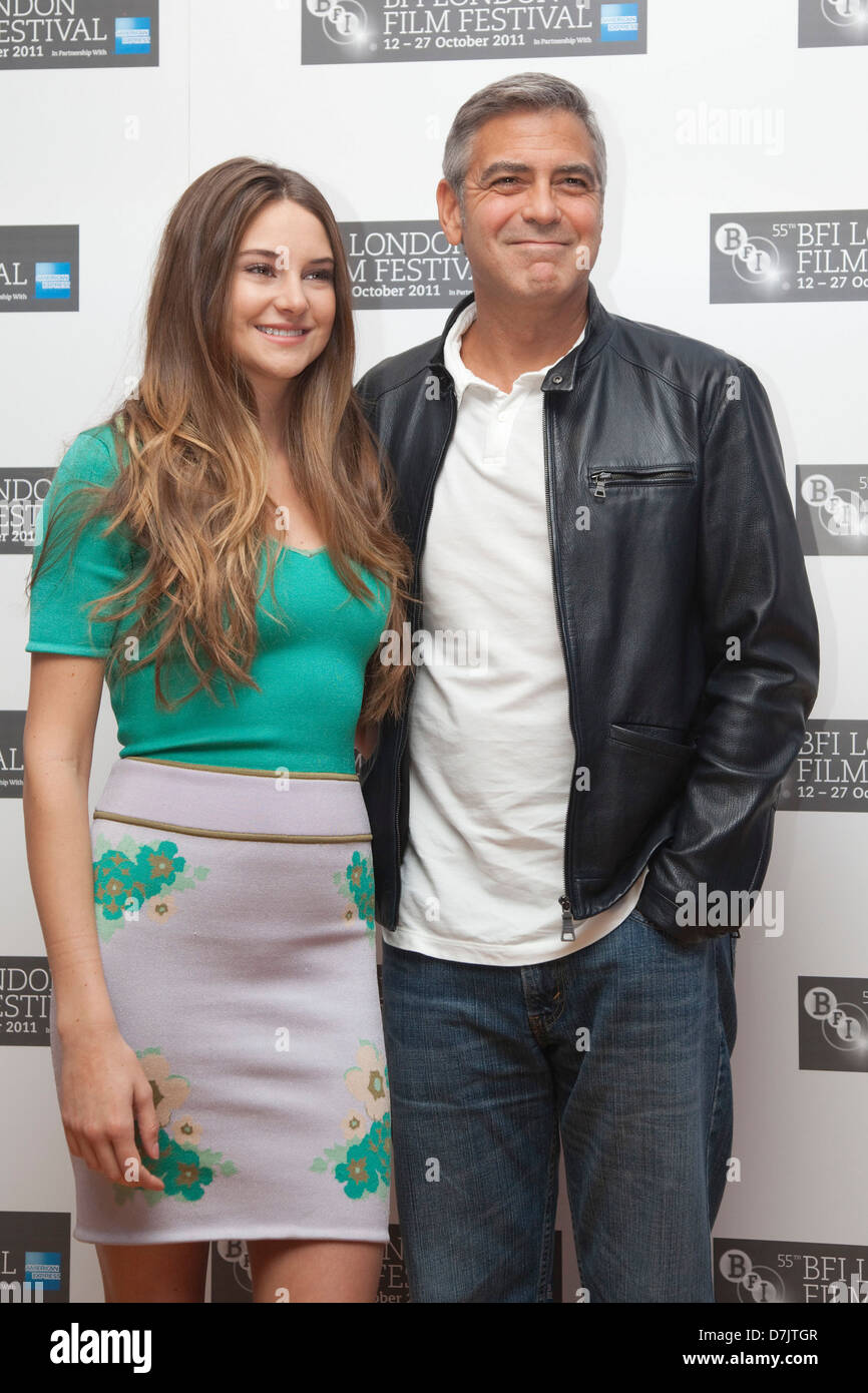 Shailene Woodley and George Clooney, The Descendants photocall, BFI London Film Festival - Stock Image