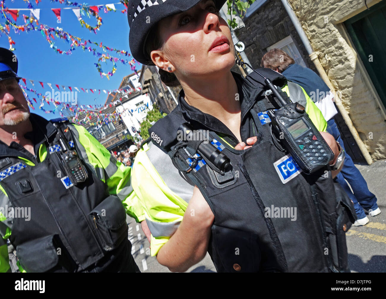 Police on duty in Padstow, UK - Stock Image