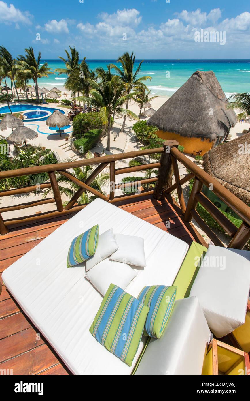 Mahekal Beach Resort cabana style accommodation on the beach in Playa del Carmen, Mexico - Stock Image