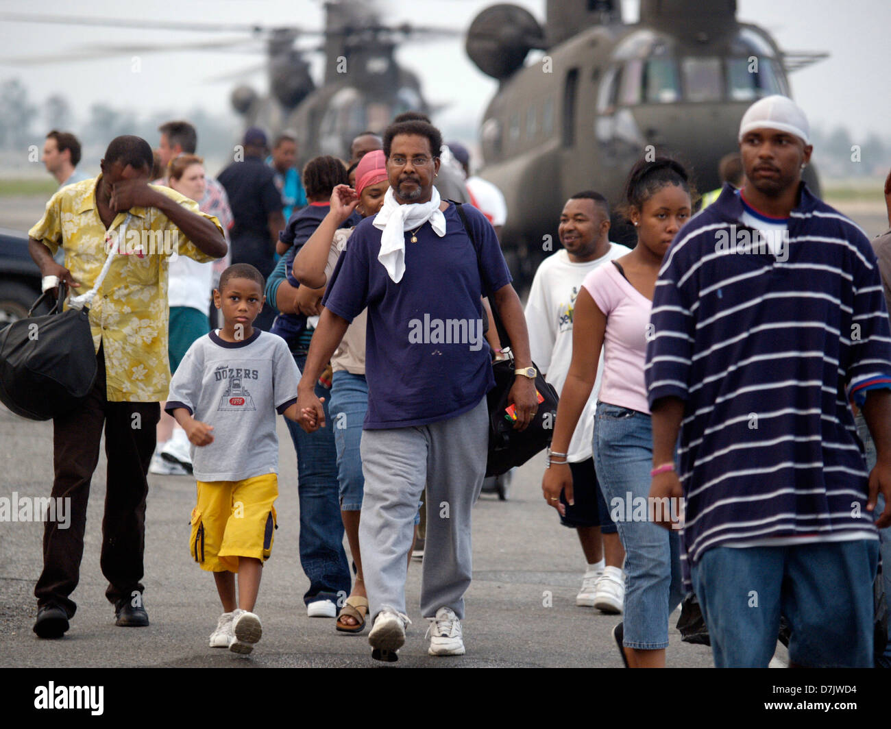 Survivors being evacuated at New Orleans Airport to other states in the aftermath of Hurricane Katrina September - Stock Image