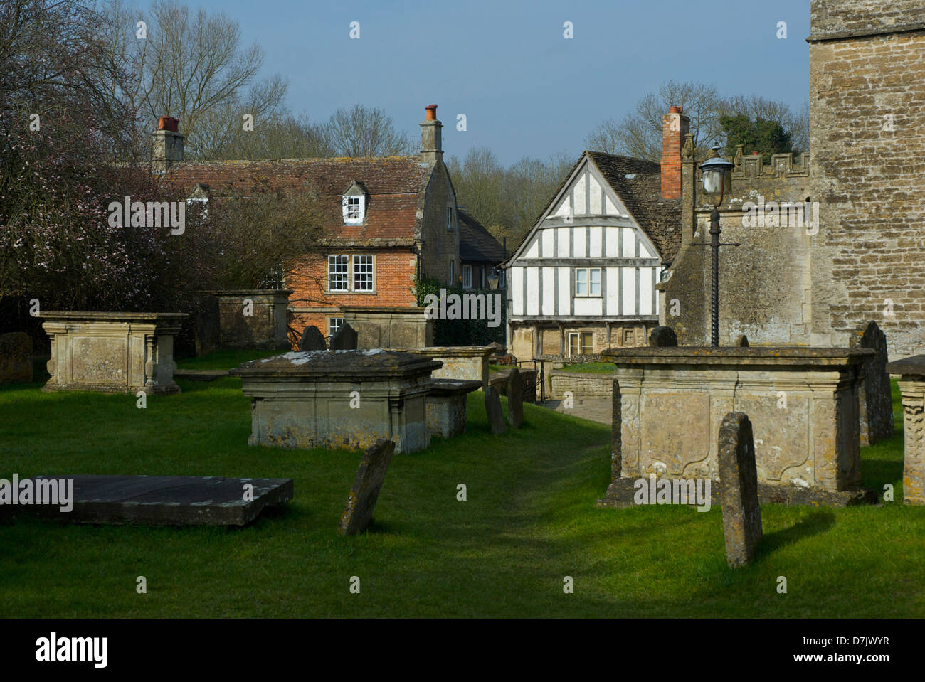 The churchyard in the village of Lackock, Wiltshire, England UK - Stock Image
