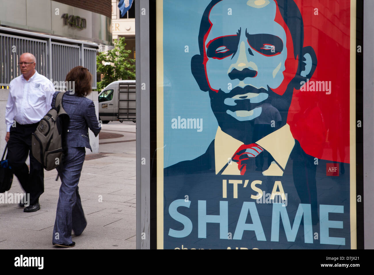 It's A Shame Obama ad in Washington, DC - Stock Image