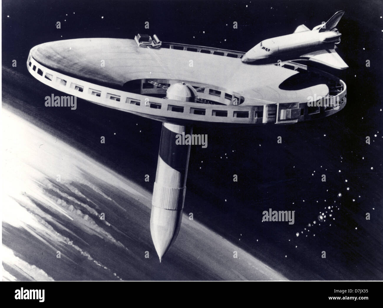 A 1977 concept drawing for a space station. - Stock Image