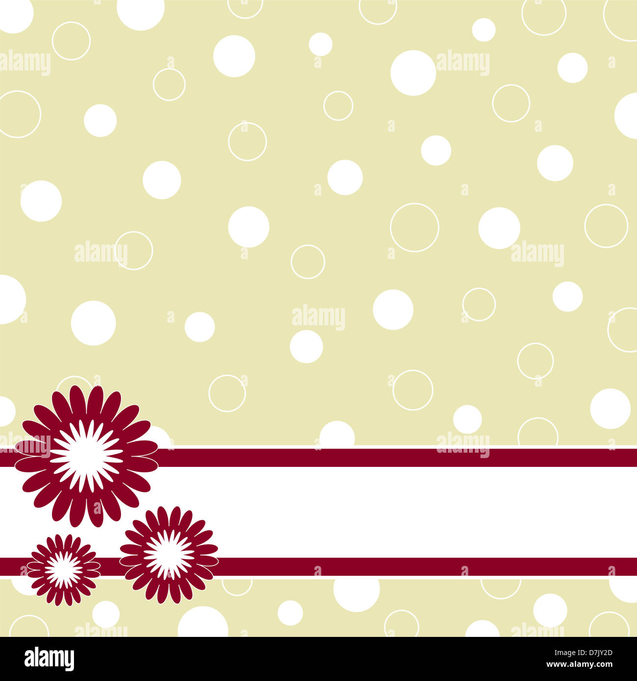 Floral banner on circles background Stock Photo