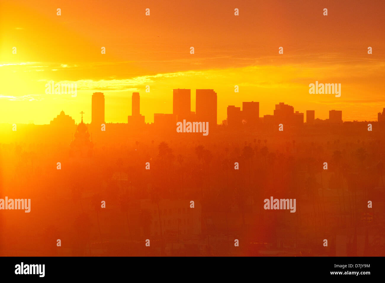 Los Angeles Hollywood skyline at sunset - Stock Image